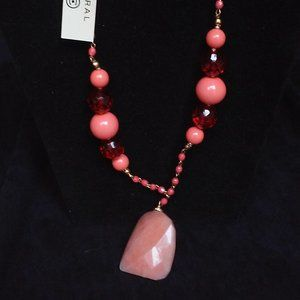 Pink Stone Pendant Necklace by Coral